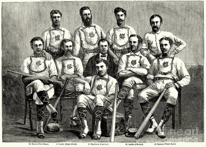1874 Greeting Card featuring the photograph Baseball: Canada, 1874 by Granger