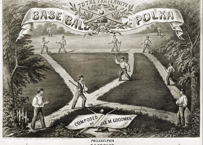 1867 Greeting Card featuring the photograph Baseball Polka, 1867 by Granger