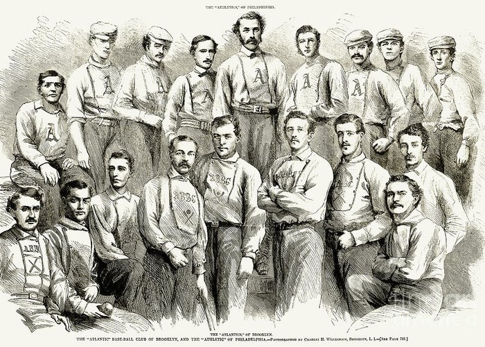 1866 Greeting Card featuring the photograph Baseball Teams, 1866 by Granger