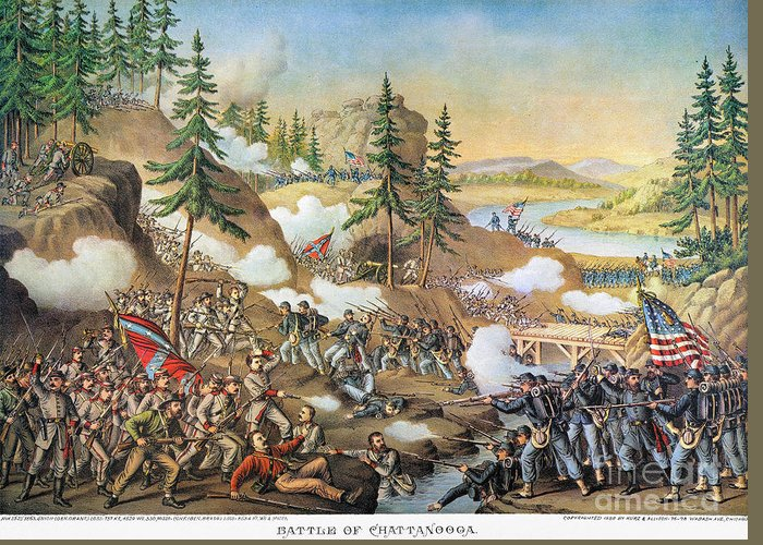 1863 Greeting Card featuring the photograph Battle Of Chattanooga 1863 by Granger