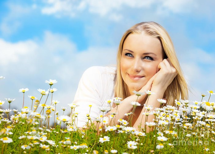 Active Greeting Card featuring the photograph Beautiful Woman Enjoying Daisy Field And Blue Sky by Anna Om