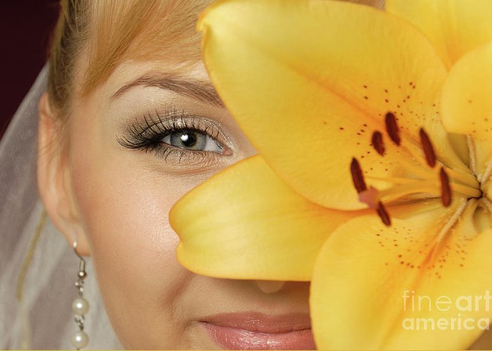 Beauty Greeting Card featuring the photograph Beautiful Young Woman With A Yellow Lily by Oleksiy Maksymenko