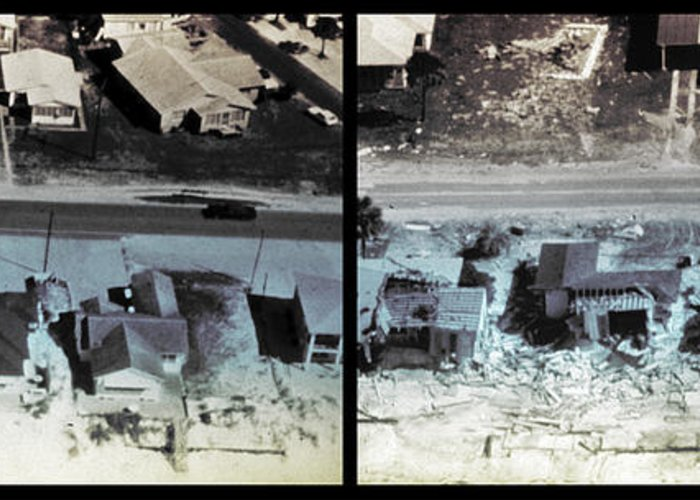 History Greeting Card featuring the photograph Before And After Hurricane Eloise 1975 by Science Source