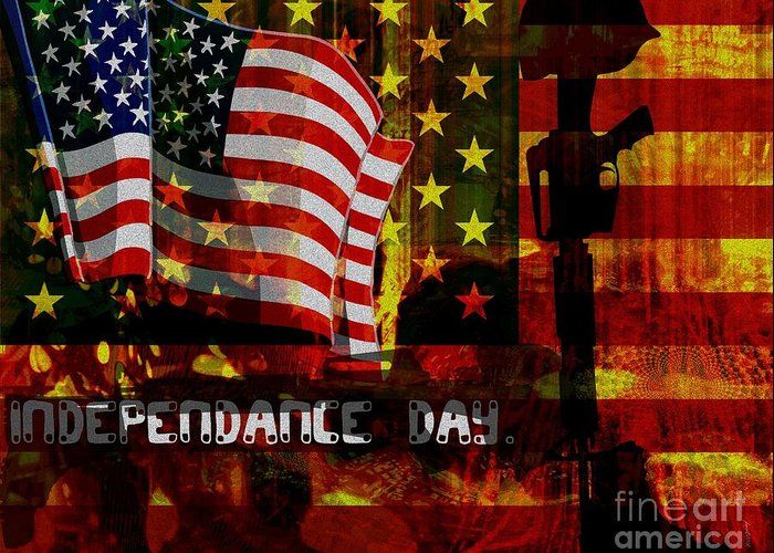 American Independance Mixed Media Greeting Cards