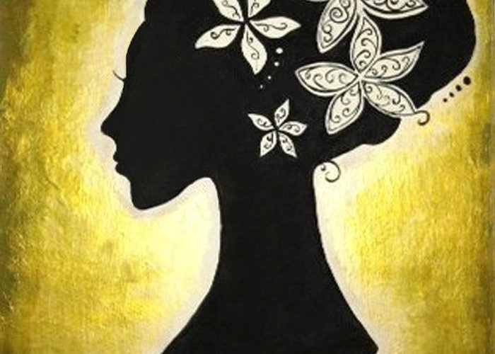 Silhouette Greeting Card featuring the painting Bella Dama by Brandy Nicole Neal