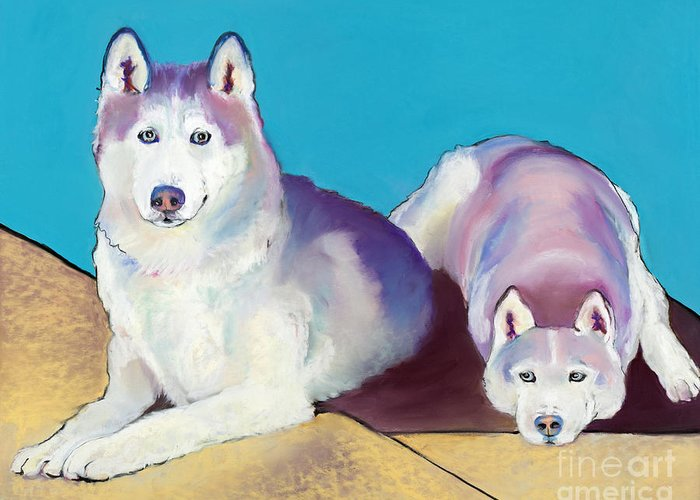 Two Dogs Greeting Card featuring the pastel Best Buddies by Pat Saunders-White