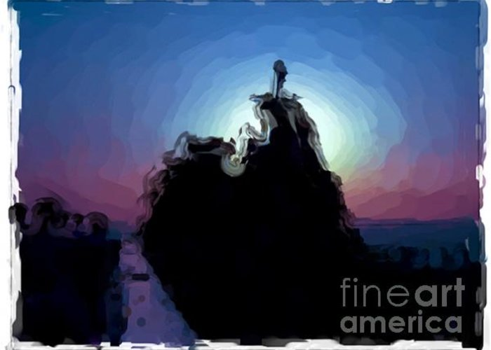 Landscapes Greeting Card featuring the painting Biarritz - France by Franck Guarinos