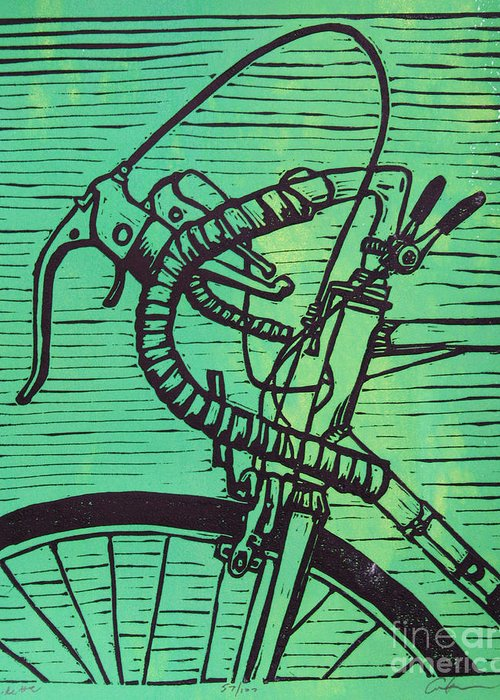 Print Greeting Card featuring the drawing Bike 2 by William Cauthern