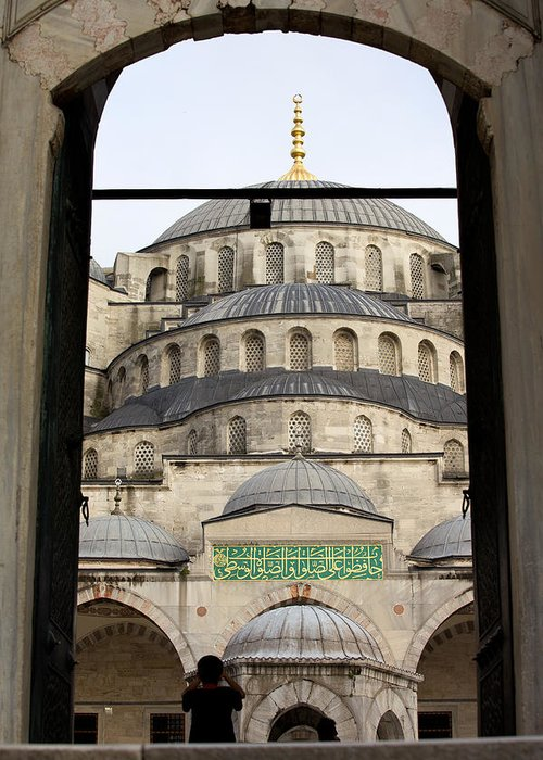 Blue Greeting Card featuring the photograph Blue Mosque by Artur Bogacki