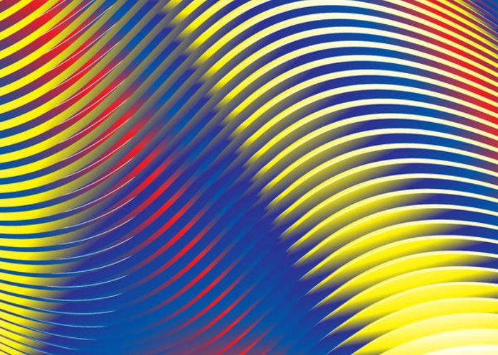 Multi-colored Greeting Card featuring the digital art Blue Stripes No. 15 by Alan Bennington