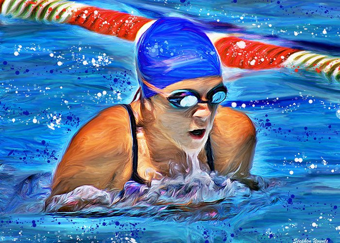 Swimmer Greeting Card featuring the digital art Breaststroke by Stephen Younts