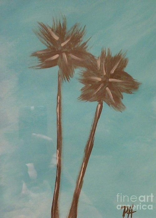 Palm Tree Greeting Card featuring the painting Breeze by Patti Spires Hamilton