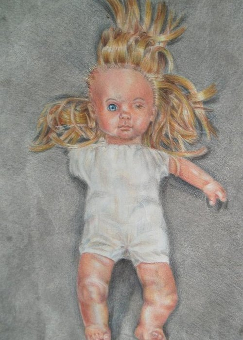 Creepy Greeting Card featuring the drawing Broken by Joanna Gates