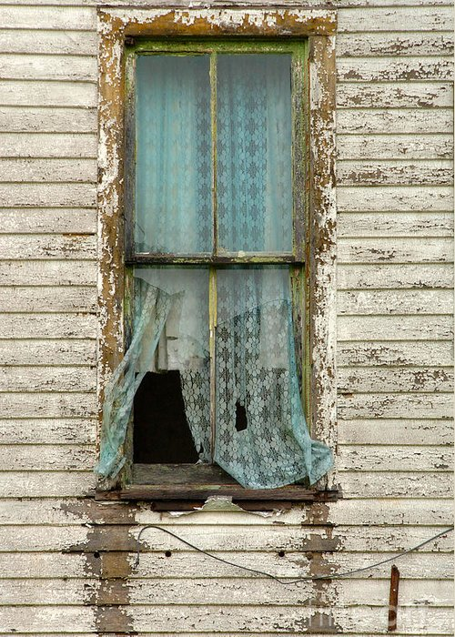 Window Greeting Card featuring the photograph Broken Window In Abandoned House by Jill Battaglia