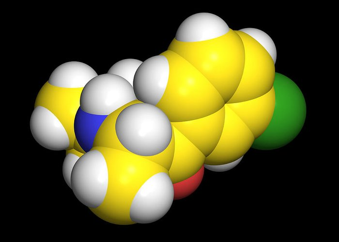 Buproban Greeting Card featuring the photograph Bupropion Drug Molecule by Dr Tim Evans