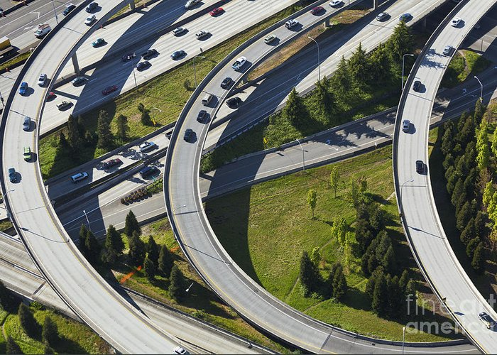 Aerial Greeting Card featuring the photograph Busy Freeway Interchange by Don Mason
