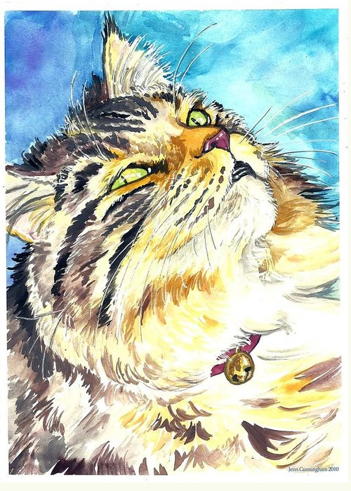 Cat Greeting Card featuring the painting Butters by Jenn Cunningham