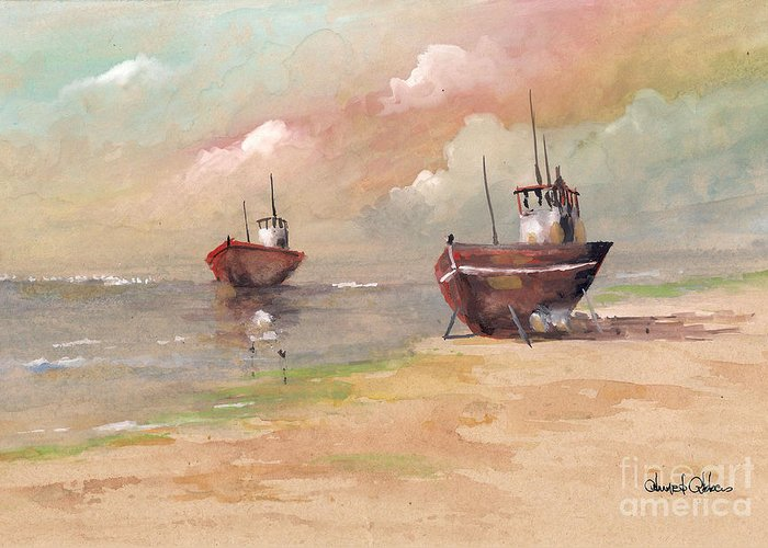 Seascape Paintings Greeting Card featuring the painting Cale Seche 1 by Ahmed Abbas