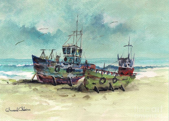 Seascape Paintings Greeting Card featuring the painting Cale Seche 10 by Ahmed Abbas