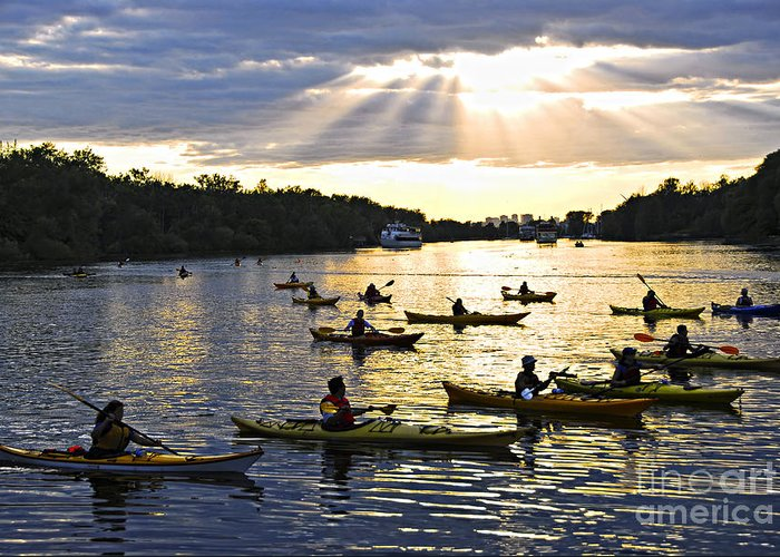 Active Greeting Card featuring the photograph Canoeing by Elena Elisseeva