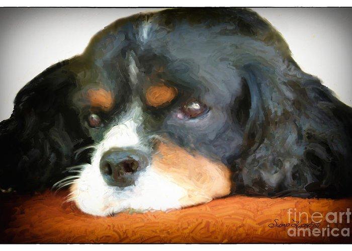 Animal Greeting Card featuring the digital art Cavalier King Charles Spaniel by Susan Lipschutz