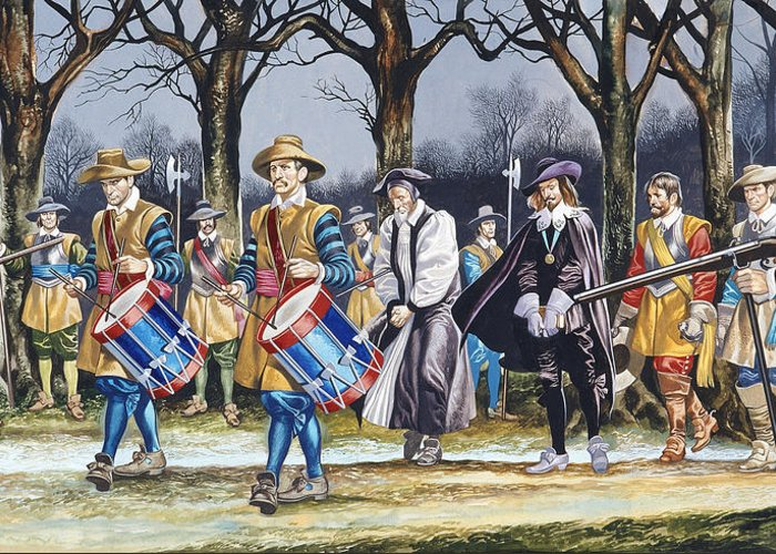 Martyr; Stuart; Monarch; Divine Right; Tree; Drum; Drummer; Musket; Gun; Uniform; Soldier; English Civil War Greeting Card featuring the painting Charles I's Last Walk by Ron Embleton