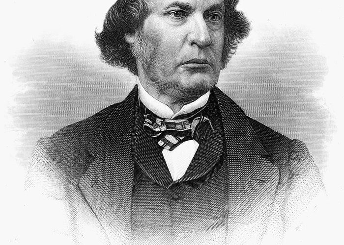 19th Century Greeting Card featuring the photograph Charles Sumner (1811-1874) by Granger