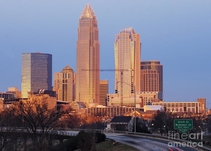 Architecture Greeting Card featuring the photograph Charlotte Skyline At Sunrise by Jeremy Woodhouse