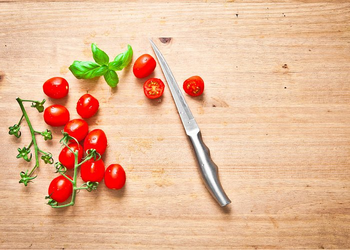 Aromatic Greeting Card featuring the photograph Cherry Tomatoes by Tom Gowanlock