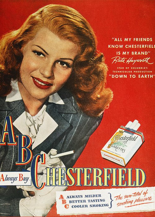 1947 Greeting Card featuring the photograph Chesterfield Cigarette Ad by Granger