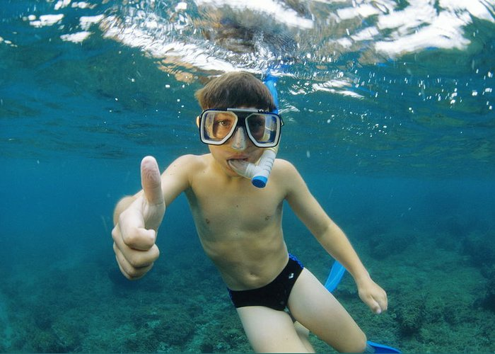 Snorkel Greeting Card featuring the photograph Child Snorkelling by Alexis Rosenfeld