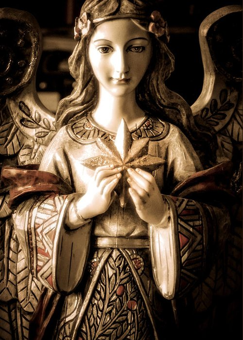 Statue Greeting Card featuring the photograph Christmas Angel by Julie Palencia
