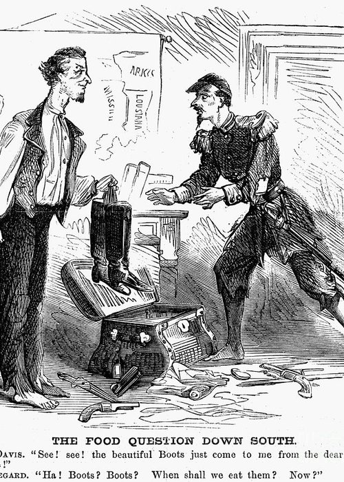 1863 Greeting Card featuring the photograph Civil War Cartoon by Granger