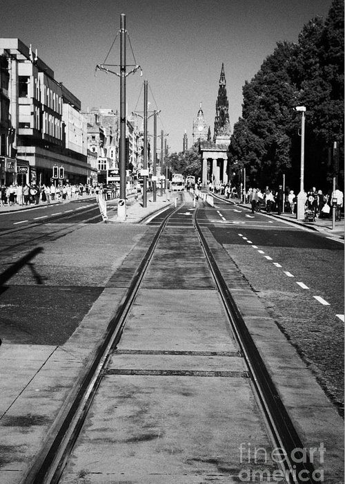 Princes Greeting Card featuring the photograph Completed Tram Rails On Princes Street Edinburgh Scotland Uk United Kingdom by Joe Fox