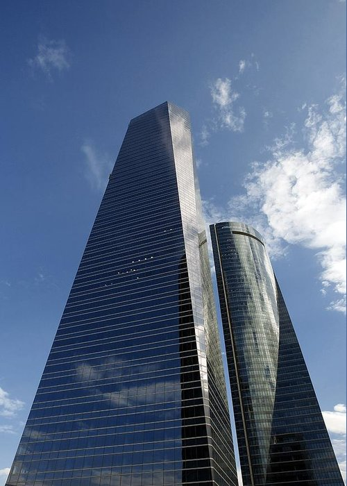 Torre De Cristal Greeting Card featuring the photograph Ctba Skyscrapers, Madrid by Carlos Dominguez
