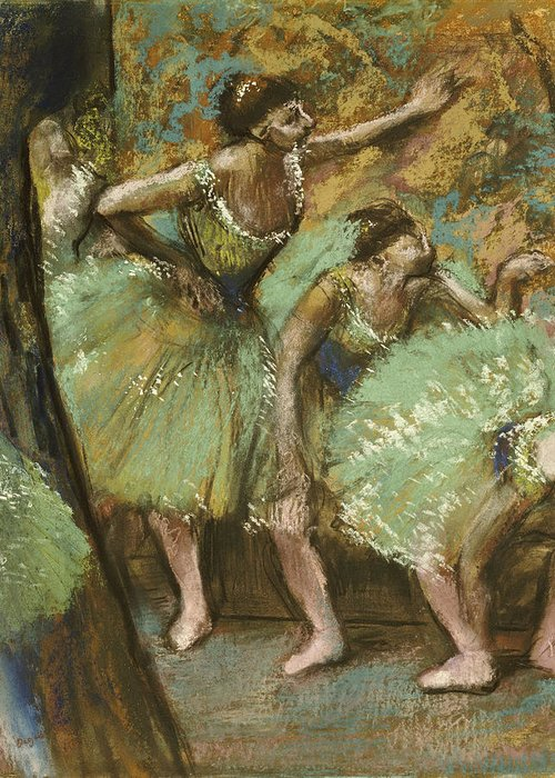 Pastel Greeting Card featuring the pastel Dancers by Edgar Degas