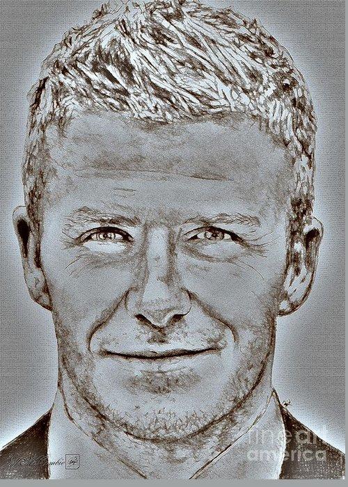 David Beckham Greeting Card featuring the digital art David Beckham In 2009 by J McCombie