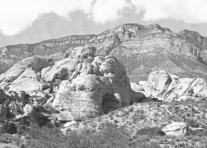 Pencil Greeting Card featuring the photograph Desert Hikers by Frank Wilson