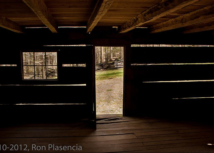 Log Cabin Greeting Card featuring the photograph Doorway To The Past by Ron Plasencia