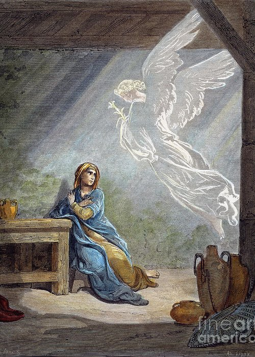 19th Century Greeting Card featuring the photograph Dor�: The Annunciation by Granger