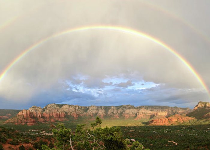 Sedona Greeting Card featuring the photograph Double Rainbow Over Sedona by David Sunfellow