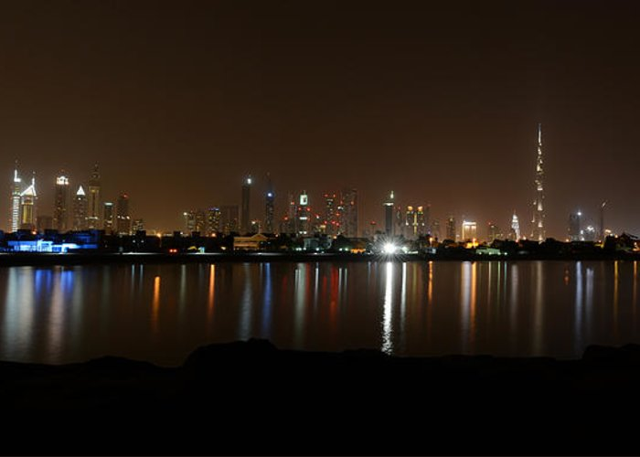 Outdoors Greeting Card featuring the photograph Dubai By Night by Jesse James Fernandez