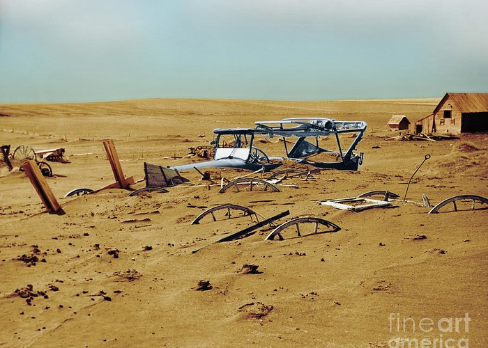 Enhanced Greeting Card featuring the photograph Dust Bowl by Omikron