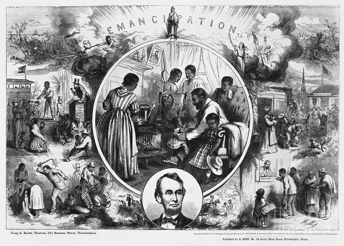 Historical Greeting Card featuring the photograph Effects Of Emancipation Proclamation by Photo Researchers