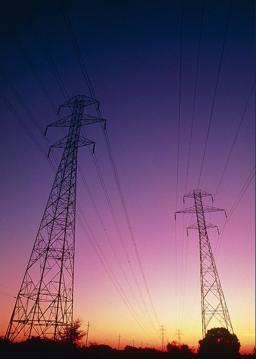 Transmission Line Greeting Card featuring the photograph Electricity Transmission Lines At Sunset by David Nunuk
