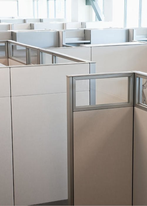 Architecture Greeting Card featuring the photograph Empty Office Cubicles by Jetta Productions, Inc