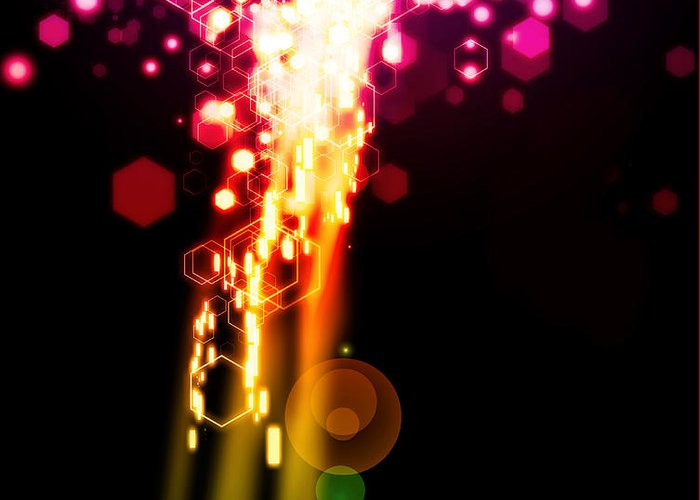 Abstract Greeting Card featuring the photograph Explosion Of Lights by Setsiri Silapasuwanchai