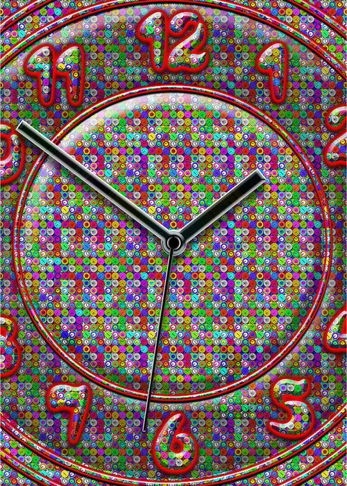 Large Colorful Art Greeting Card featuring the digital art Faces Of Time 2 by Mike McGlothlen