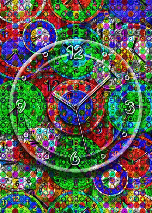 Large Clock Digital Art Greeting Cards