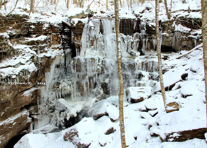 Ice Greeting Card featuring the photograph Falling Springs by Carolyn Postelwait